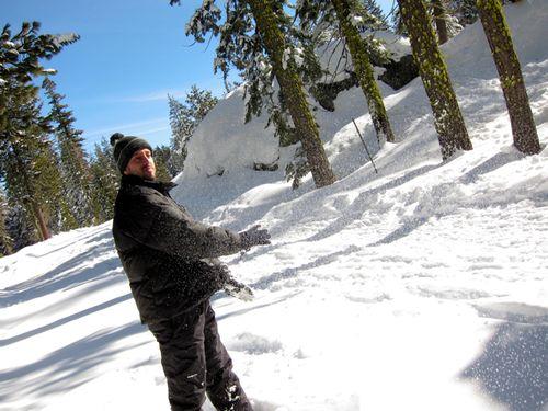 Leon throwing snow