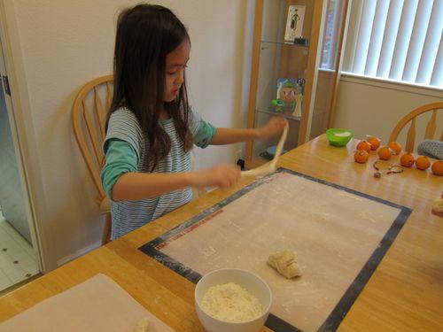 Lengthing the dough